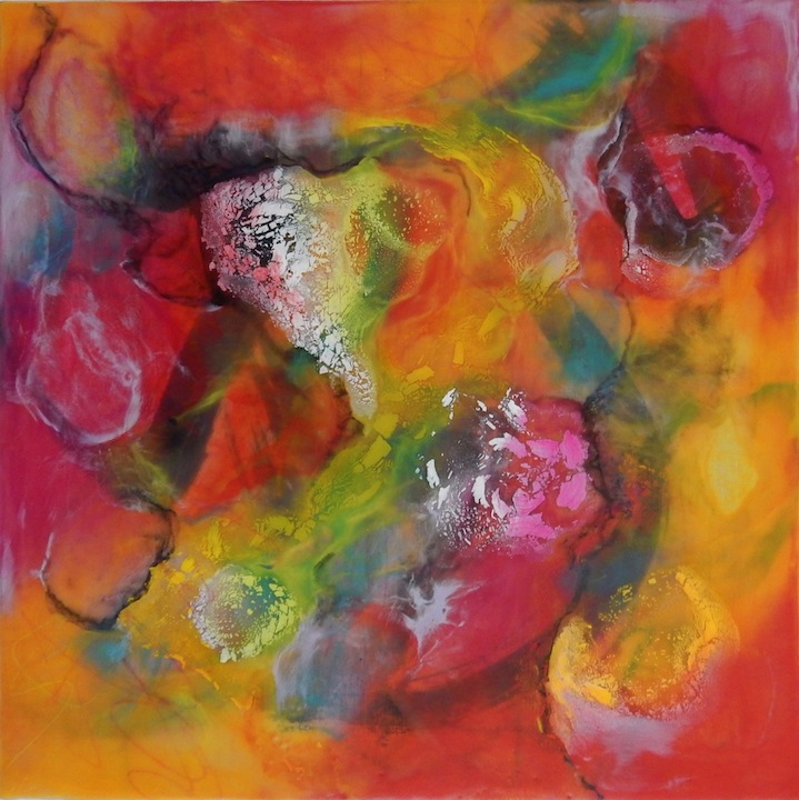 """""""The Healing I"""" 12""""x12"""" Encaustic and Mixed Media on Panel SOLD"""